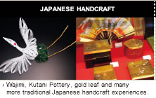 JAPANESE HANDCRAFT ajimi, Kutani Pottery, gold leaf and many more traditional japanese handcraft experiences.